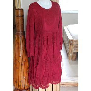 NWT Romantic Embroidered lace midi dress